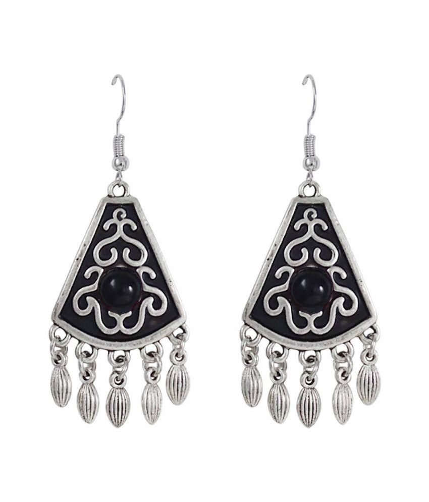 Gems N Pearls Black Alloy Antique Oxidised Earrings