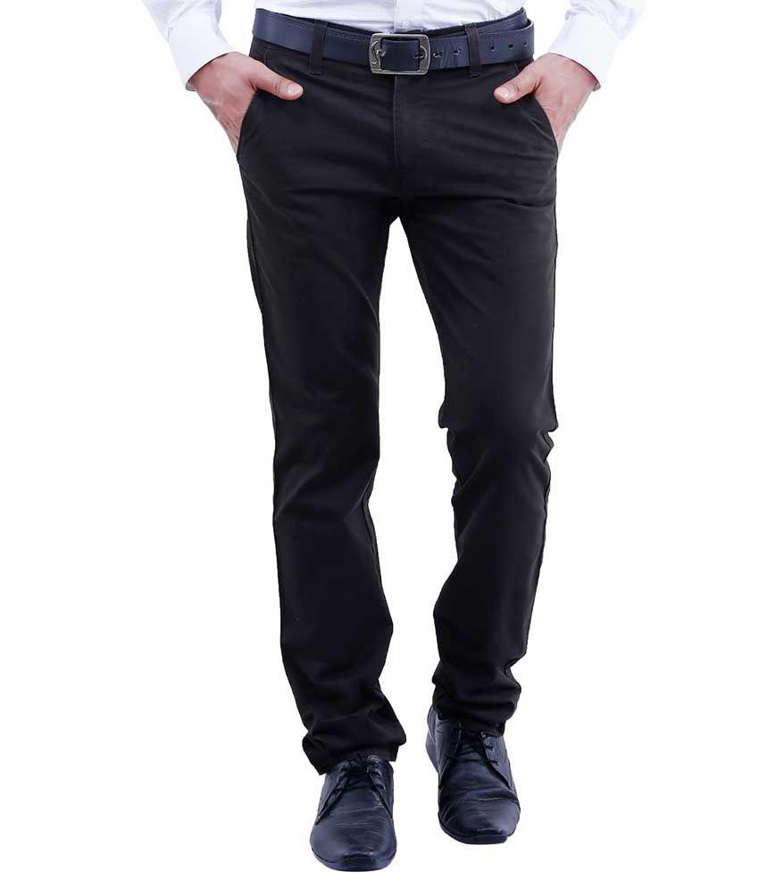 Lamode Black Slim Fit Formal Chinos Trousers