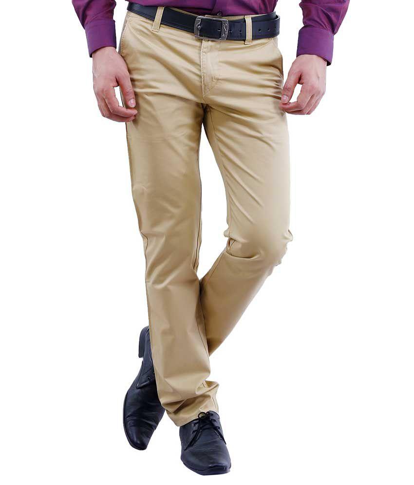 Lamode Brown Slim Fit Formal Chinos Trousers