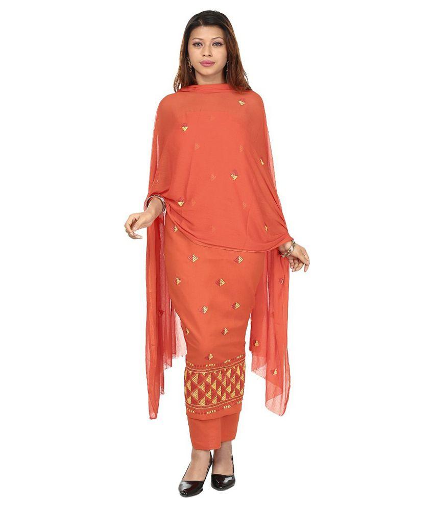 4cf5a05ec1 Punjab Di Kudi Orange Cotton Straight Unstitched Dress Material - Buy Punjab  Di Kudi Orange Cotton Straight Unstitched Dress Material Online at Best  Prices ...