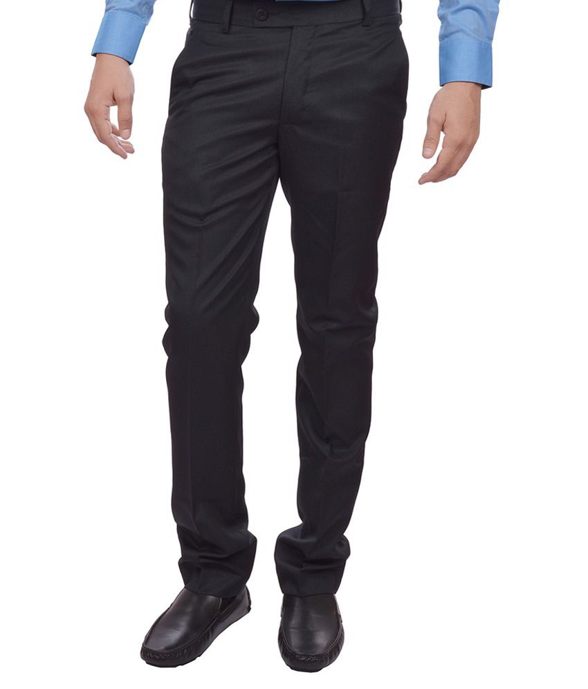 Sangam Apparels Navy Blue Slim Fit Formal Trousers