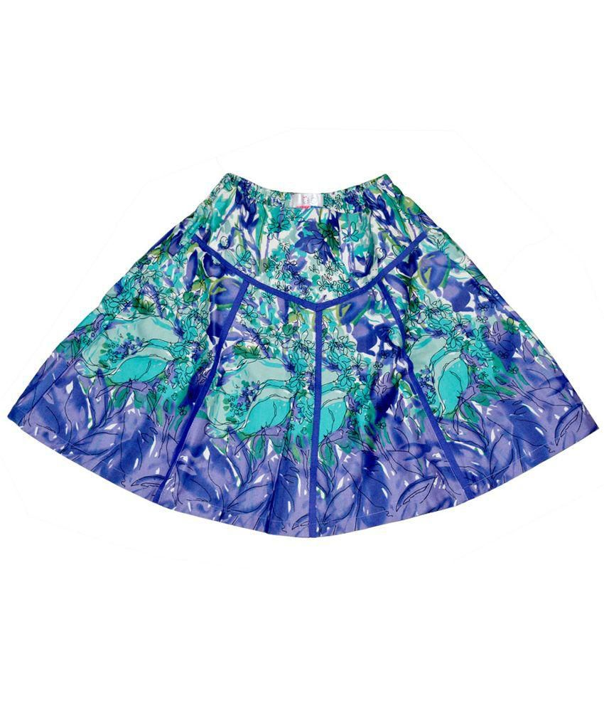 Young Birds Blue Printed Skirt