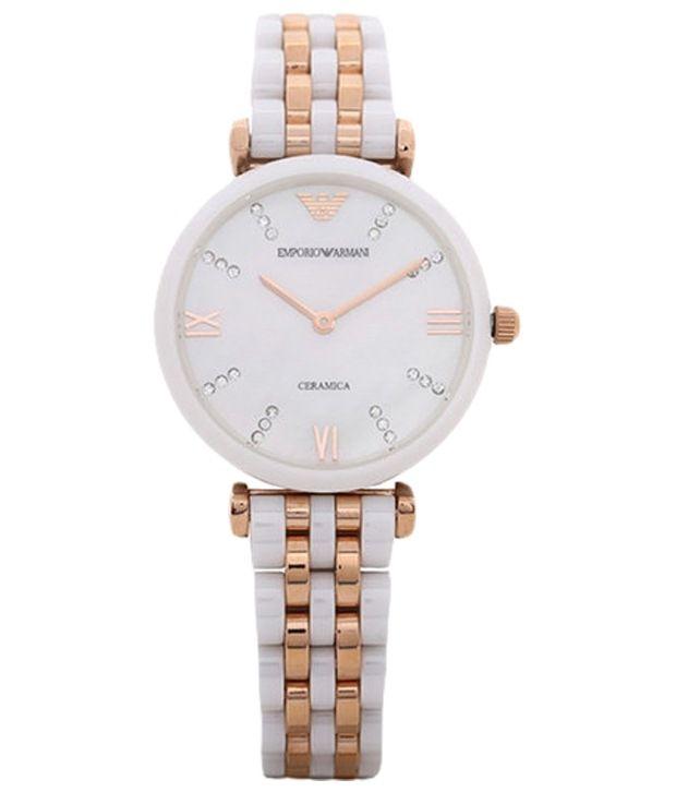 Emporio Armani Armani White & Golden Formal Analogue Wrist Watch For Women