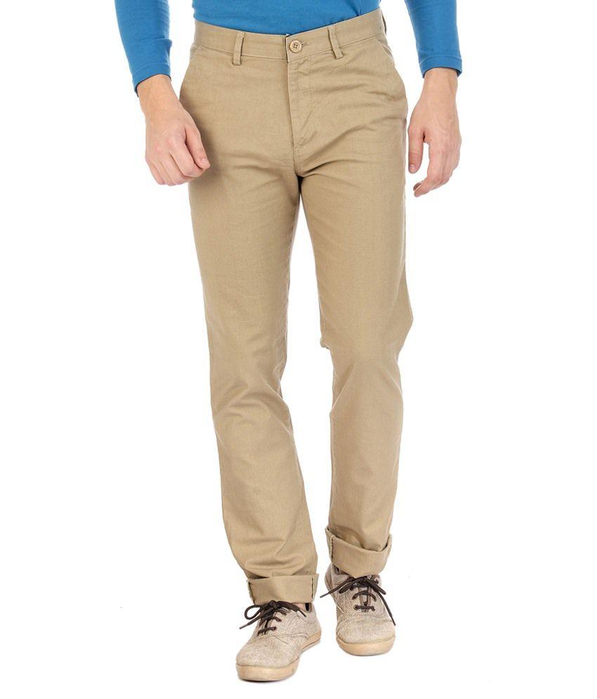 Sting Khaki Regular Fit Casuals Flat Trousers