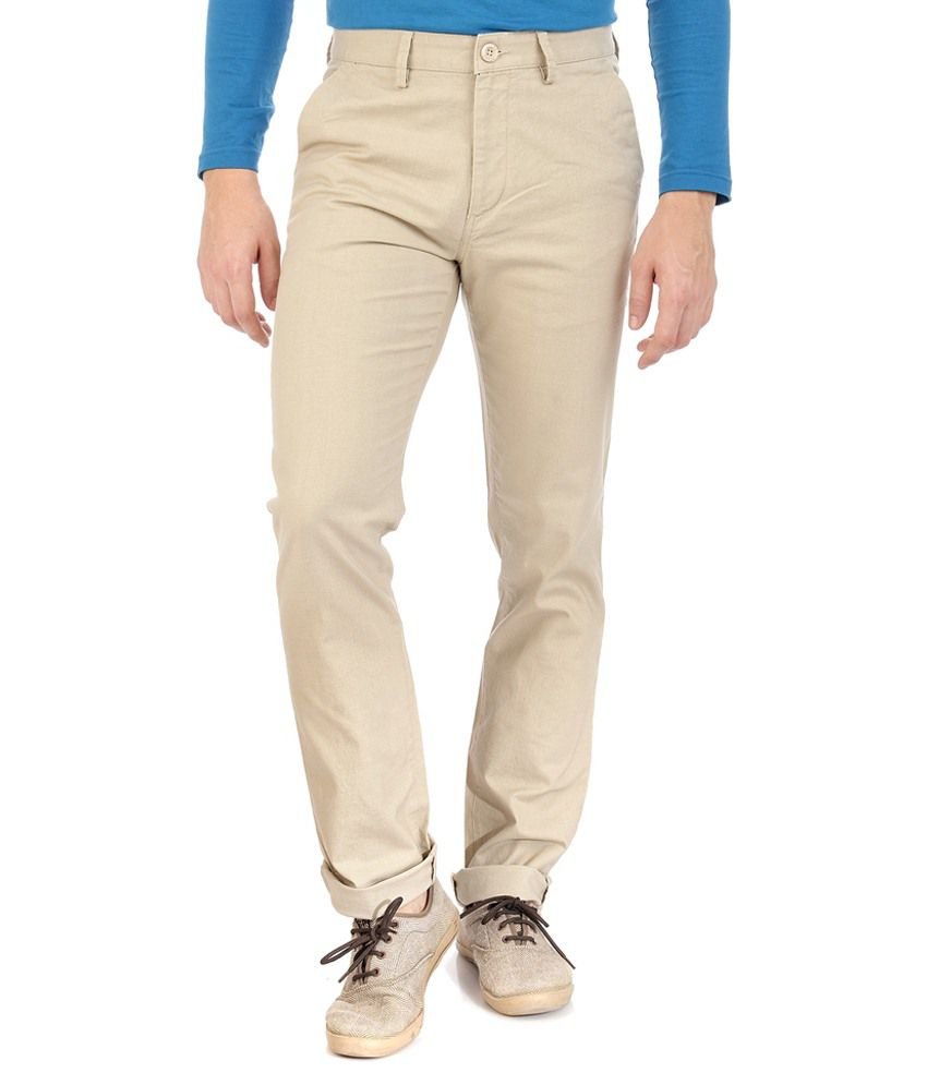 Sting Off-white Regular Fit Casuals Flat Trousers