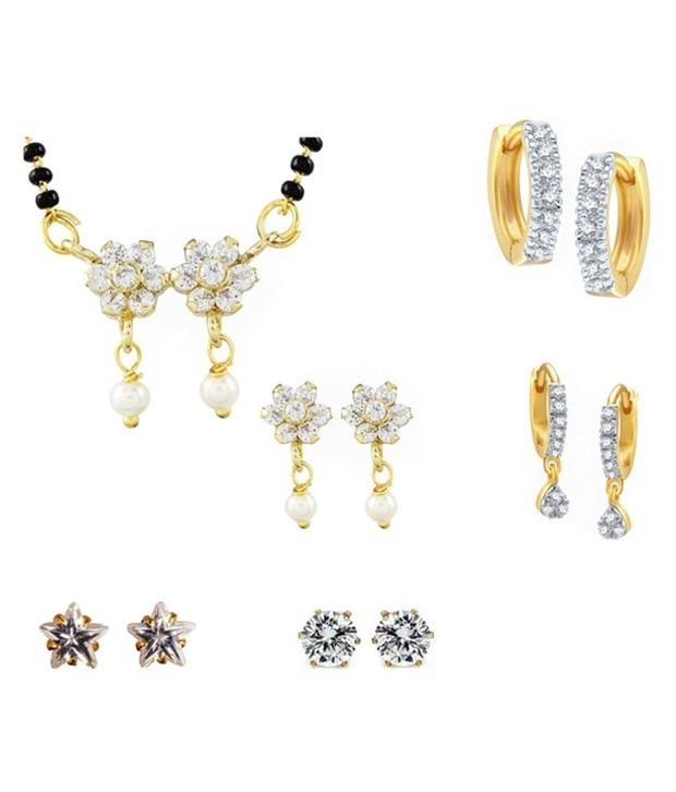 Archi Collection Golden Designer Cz Mangalsutra Set With Pack Of 4 Earrings