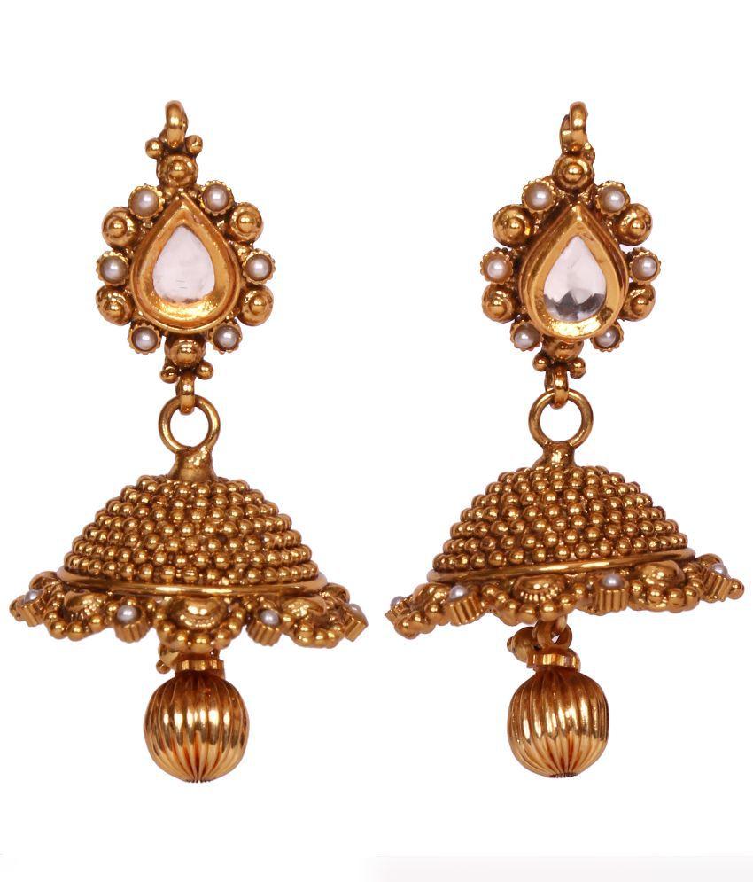 Miraclejewels Antique Golden Brass Jhumkis