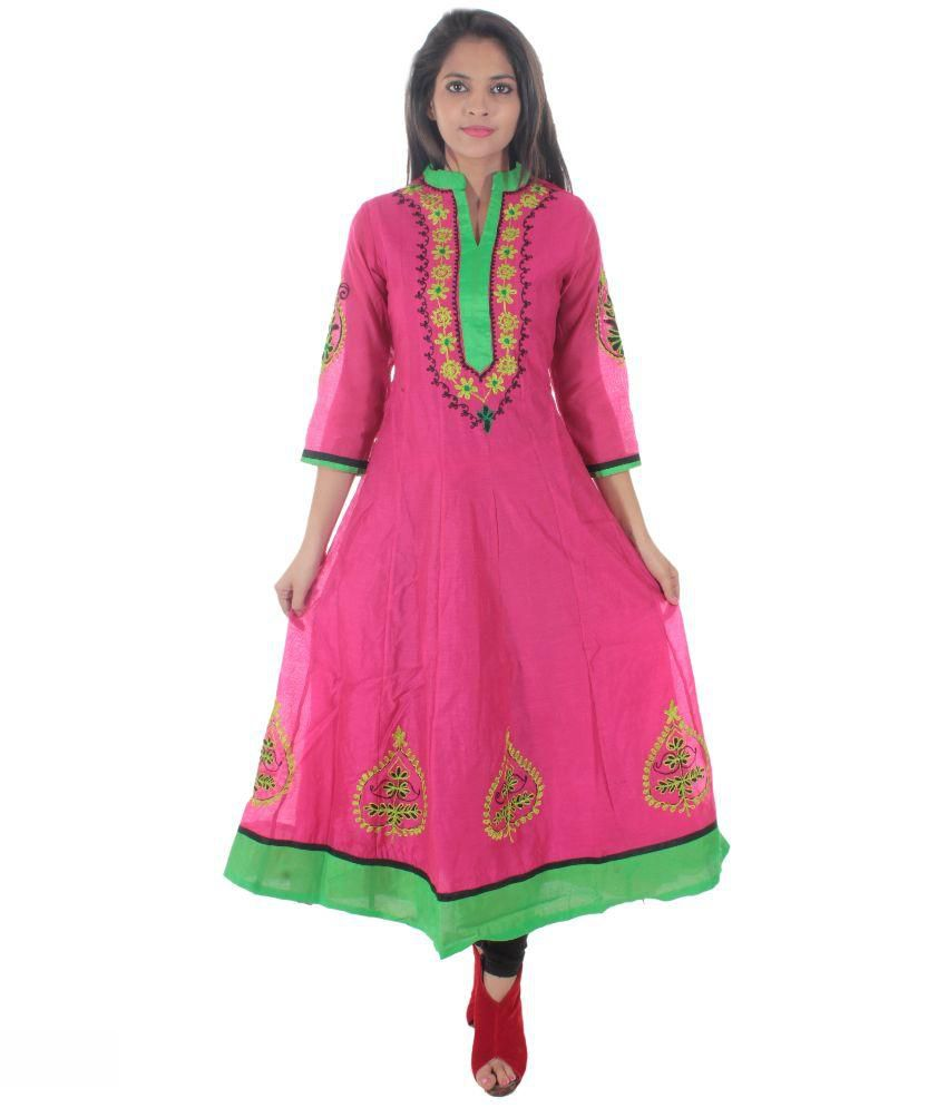 aprique fab Pink Cotton Kurti