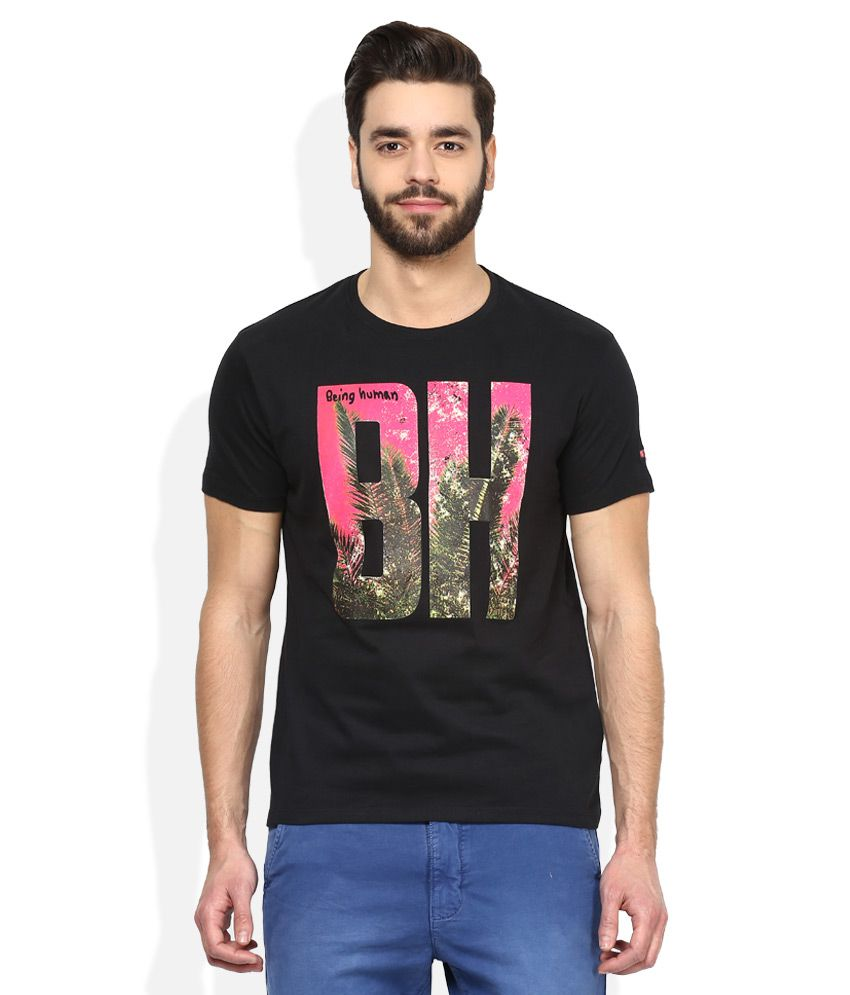 aaf4c869 Being Human Black Printed Round Neck T Shirt - Buy Being Human Black  Printed Round Neck T Shirt Online at Low Price - Snapdeal.com