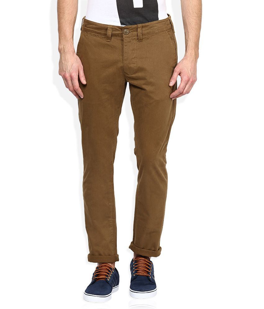 Being Human Brown Solid Chinos