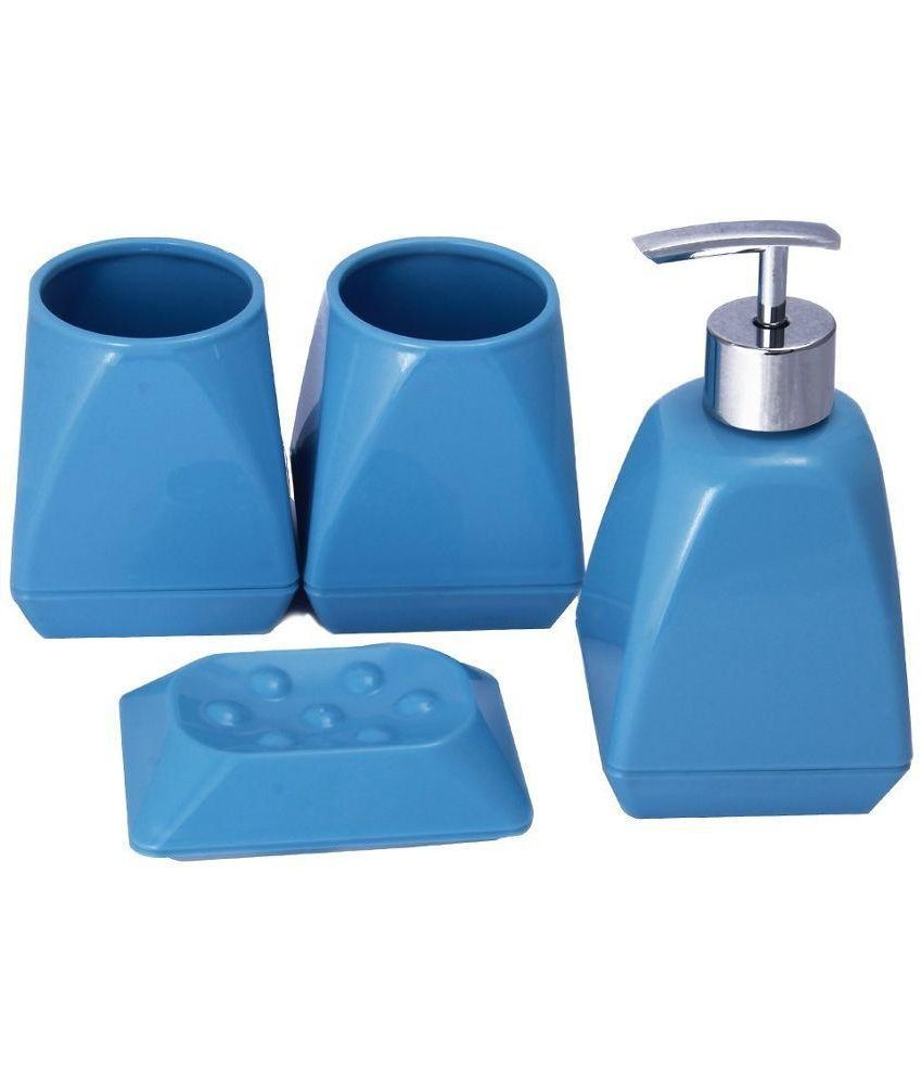 Buy novicz blue bathroom set of soap dispenser soap dish toothbrush holder and tumbler bath - Bathroom soap dish sets ...