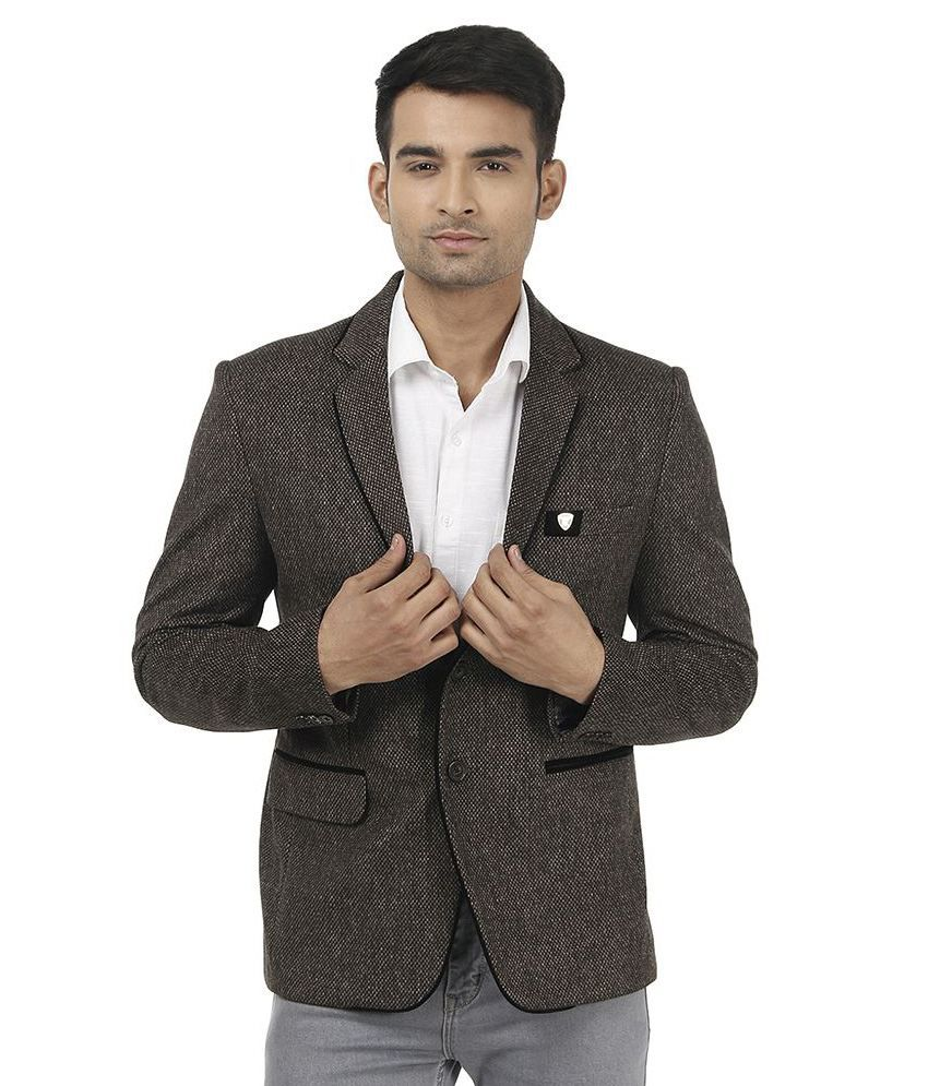 Platinum Studio Brown Woollen Casual Blazer