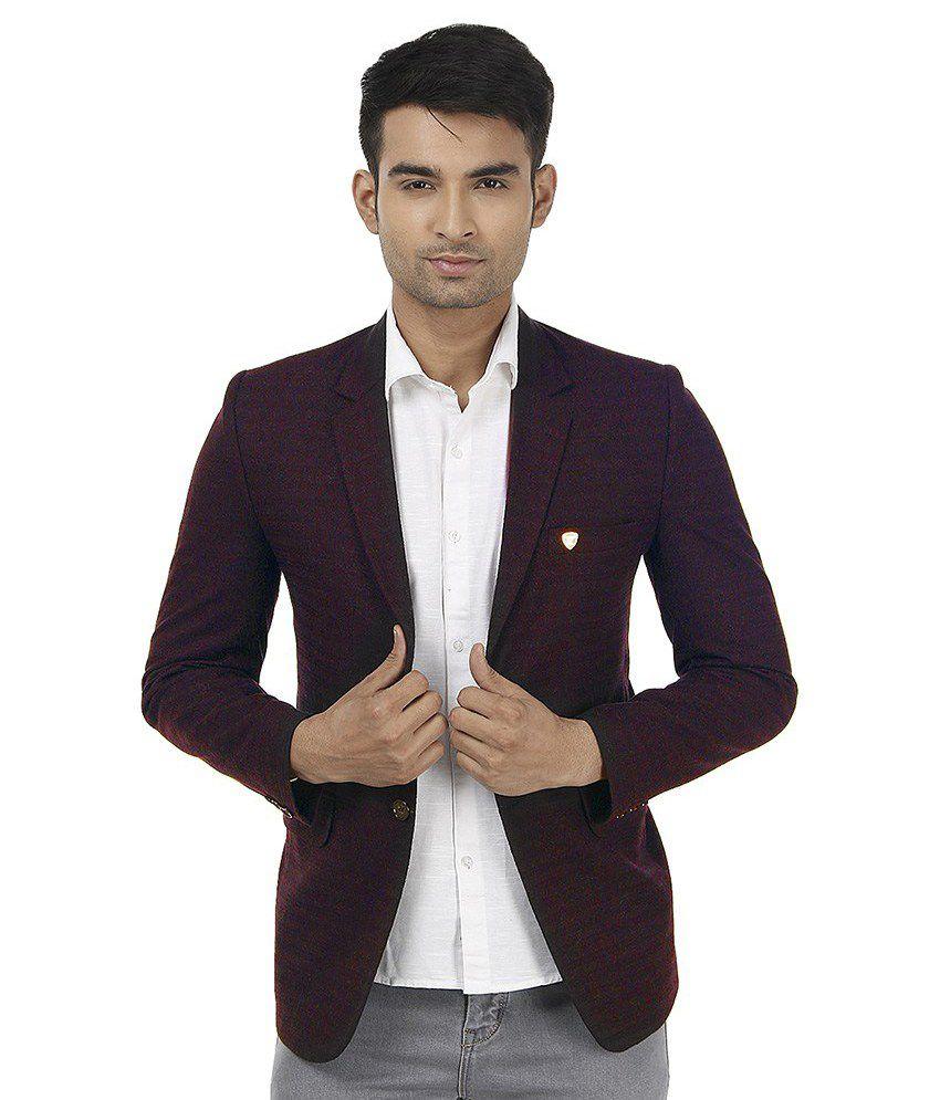 Platinum Studio Maroon Woollen Casual Blazer