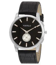 Fostelo Black Leather Wrist Watch For Men