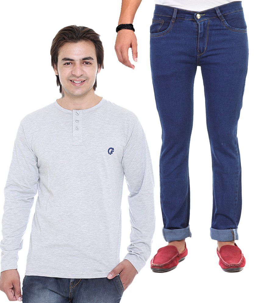 Ave Blue Regular Fit Jeans With T-shirt