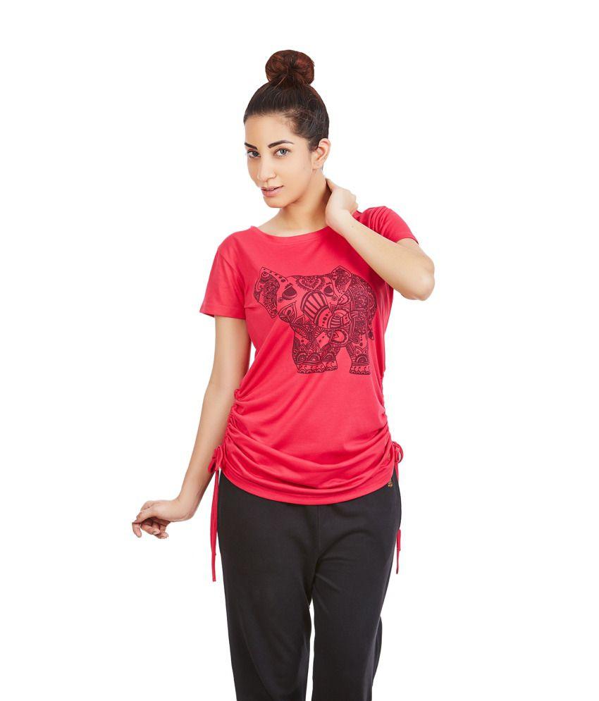 Foreveryoga Fuschia Elephant Printed Adjutable Tee - Red