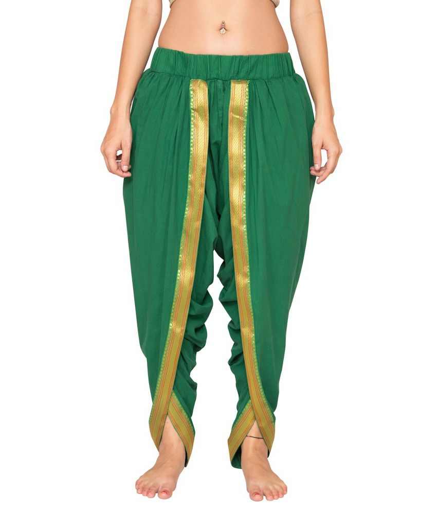 Foreveryoga Green Unisex Solid Elasticated Dhoti With Border - Green
