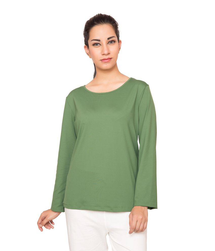 Foreveryoga Olive Performance Full Sleeve Tee - Green
