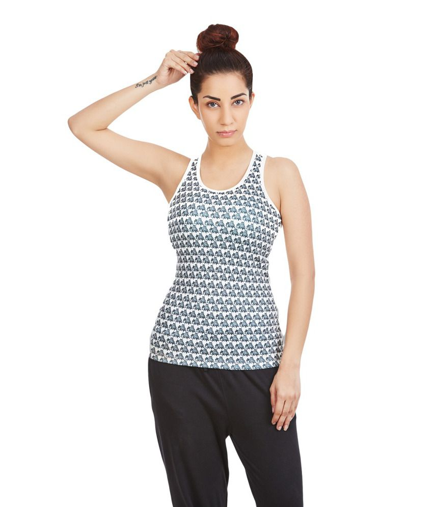 Foreveryoga Printed Ivory Racerback Top - White And Black
