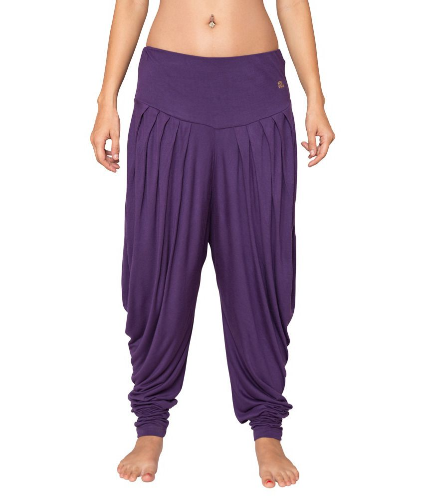 Foreveryoga Purple Viscose Spandex Harem Pant - Purple
