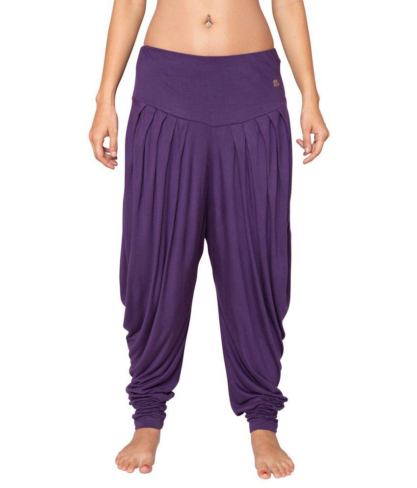 Foreveryoga Purple Viscose Spandex Harem Pant - Purple