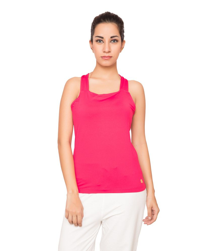 Foreveryoga Rose Cross Back Tee - Pink