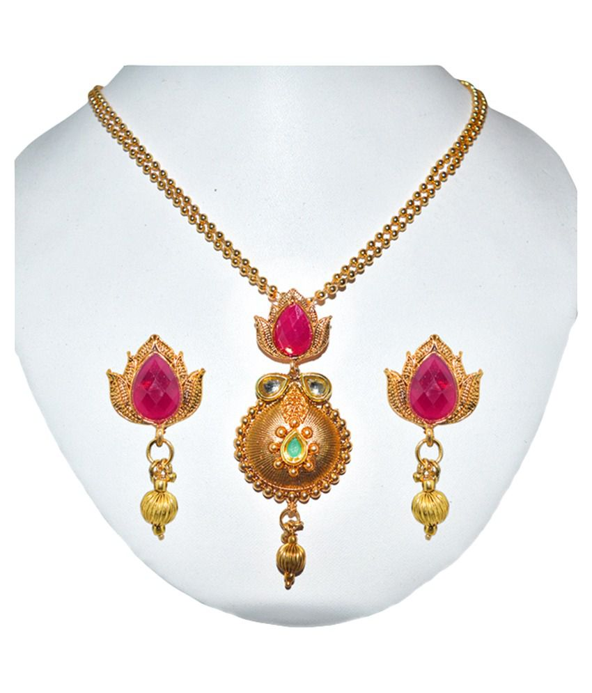 Moshiv Golden Colour Beaded Designer Necklace Set
