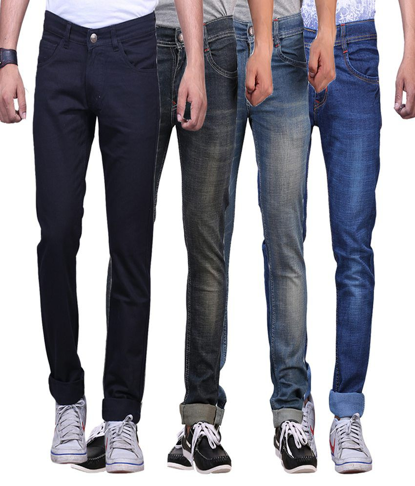 X-cross Multicolor Slim Fit Jeans - Pack Of 4