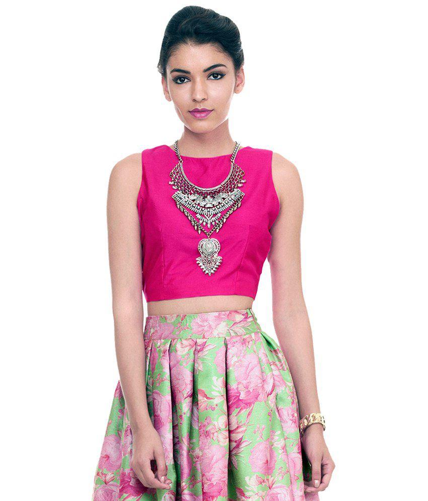 ab667eec8c5 Faballey Pink Silk Crop Top - Buy Faballey Pink Silk Crop Top Online at Best  Prices in India on Snapdeal