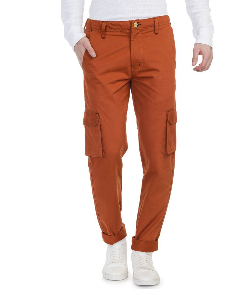 Blimey Orange Slim Fit Casual Cargos