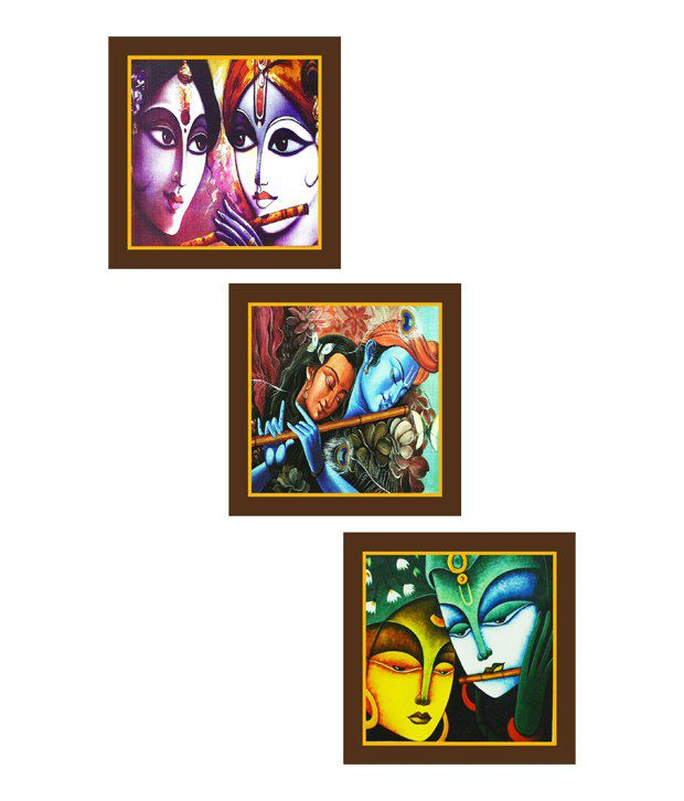 Go Hooked Krishna Art Paintings - Set Of 3