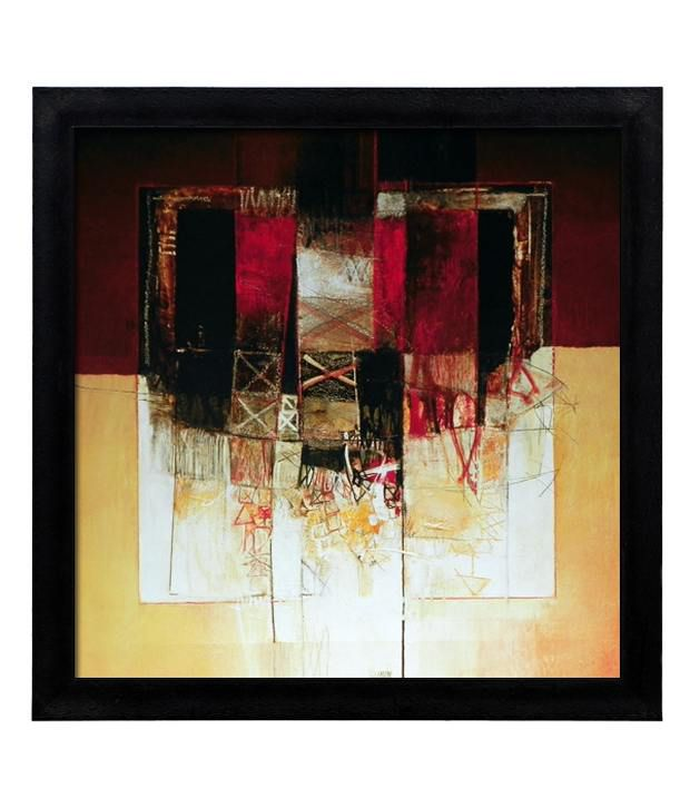 Elegant Arts And Frames Textured Composizione In Rosso Painting