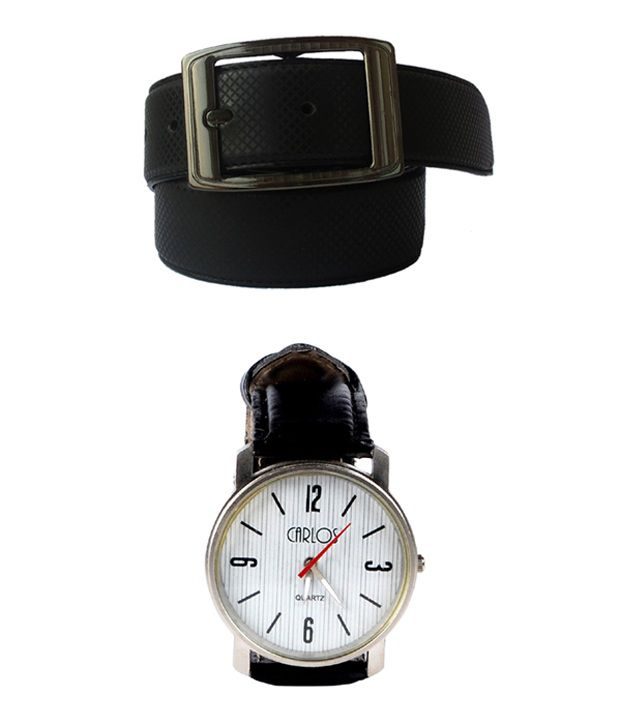 Lenin Black Leather Belt With Watch Combo