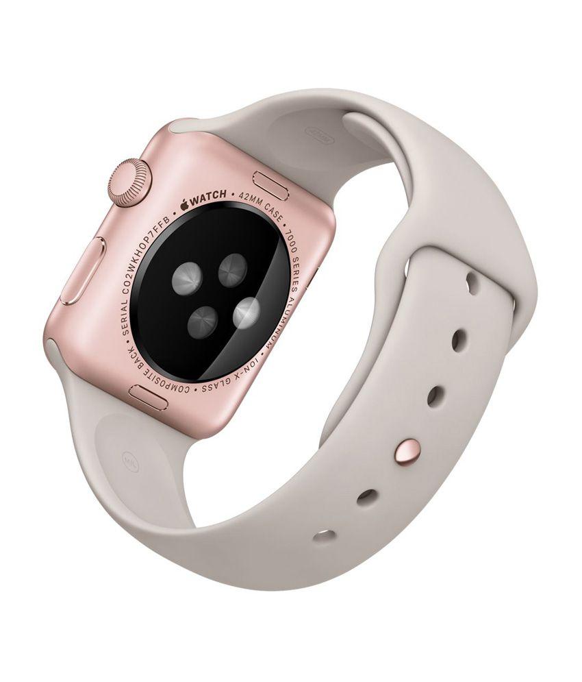 Apple 42 Mm Rose Gold Aluminium Case With Stone Sport Band Watch Series 2 Alumunium 42mm Smartwatch Rosegold