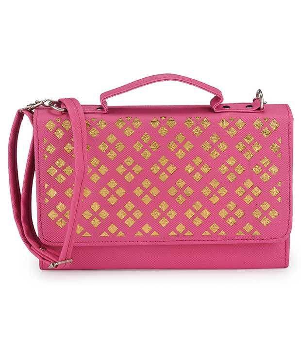 Bags Craze Pink Pu Sling Bags