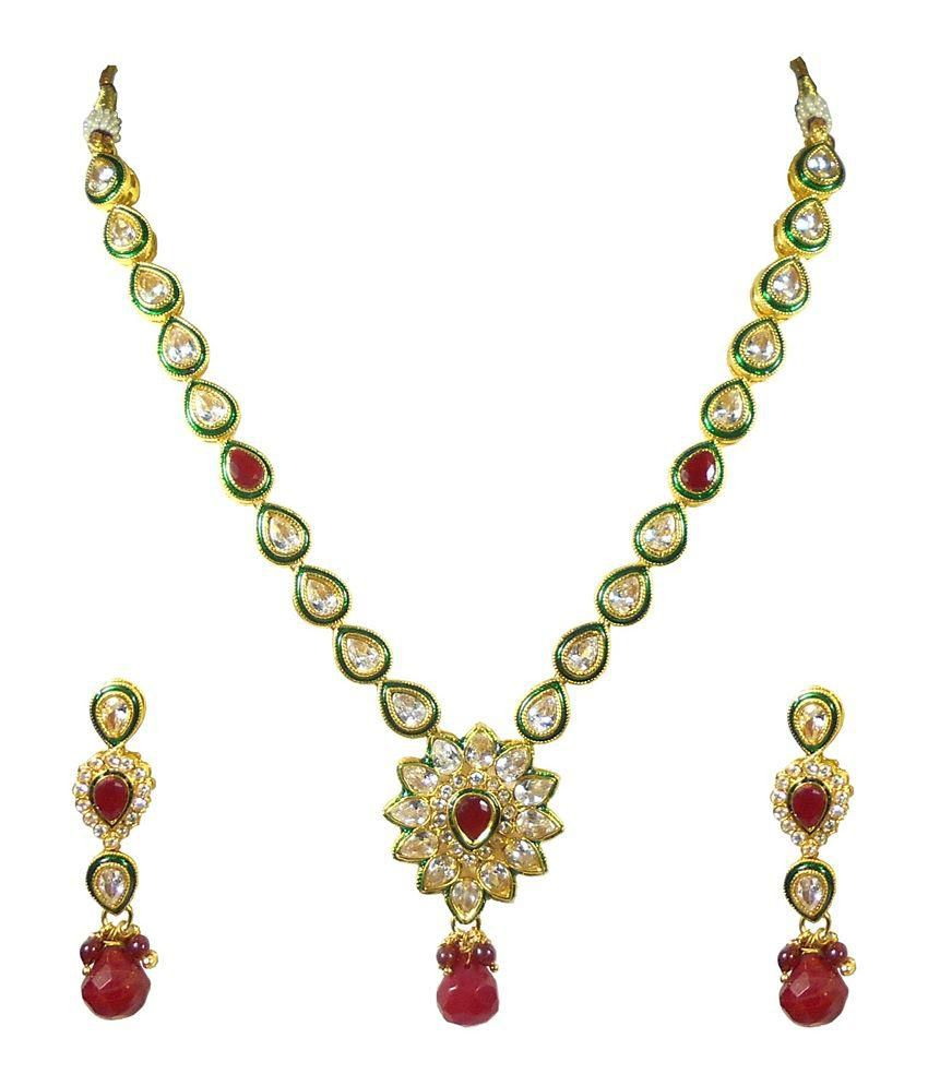 Rejewel Red and White Necklace Set