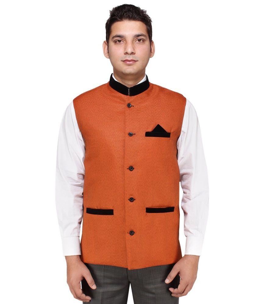 Rocksy Orange Sleeveless Cotton Blend Nehru Jacket