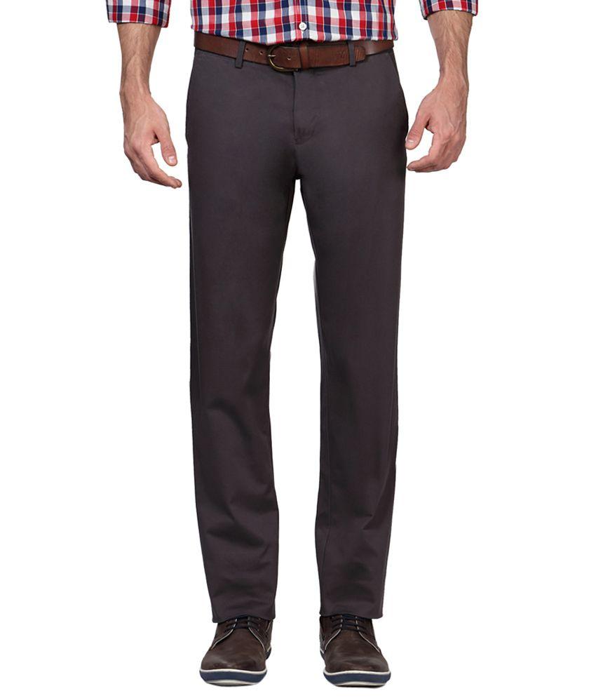 Allen Solly Grey Regular Fit Flat Trousers