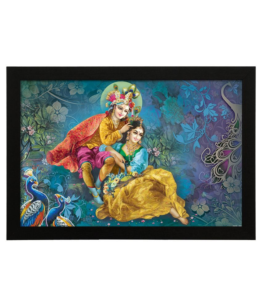 Delight Wooden Krishna Shringar Digital Printed Uv Photo Frame