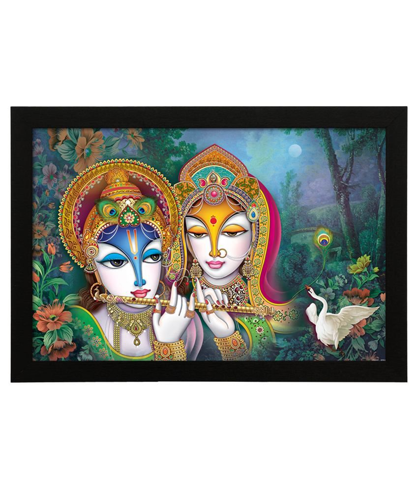 Delight Wooden Radha Krishna Garden Digital Printed Uv Photo Frame