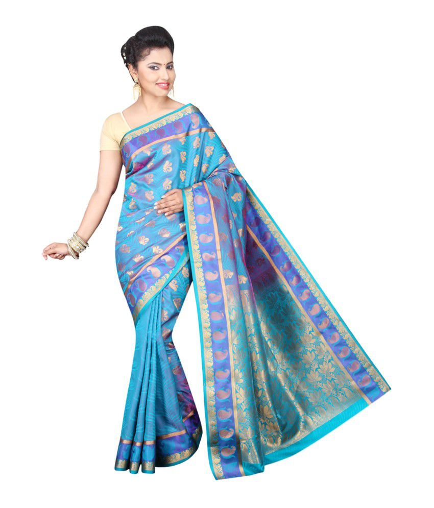 Pavecha's Blue Cotton Silk Saree