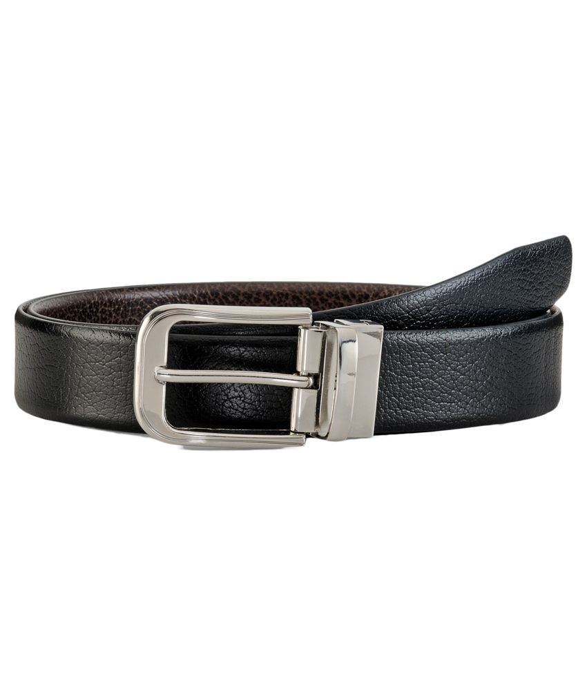 Teakwood Black And Brown Leather Reversible Belt For Men