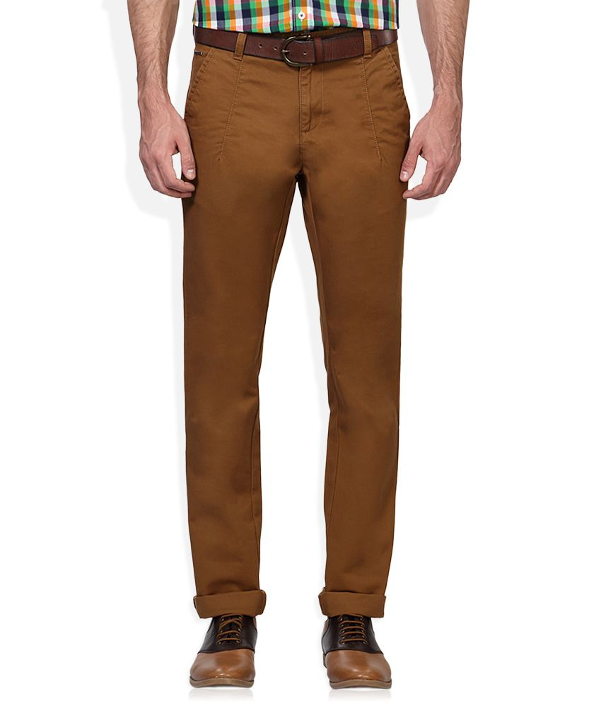 Van Heusen Brown Slim Fit Flat Trousers