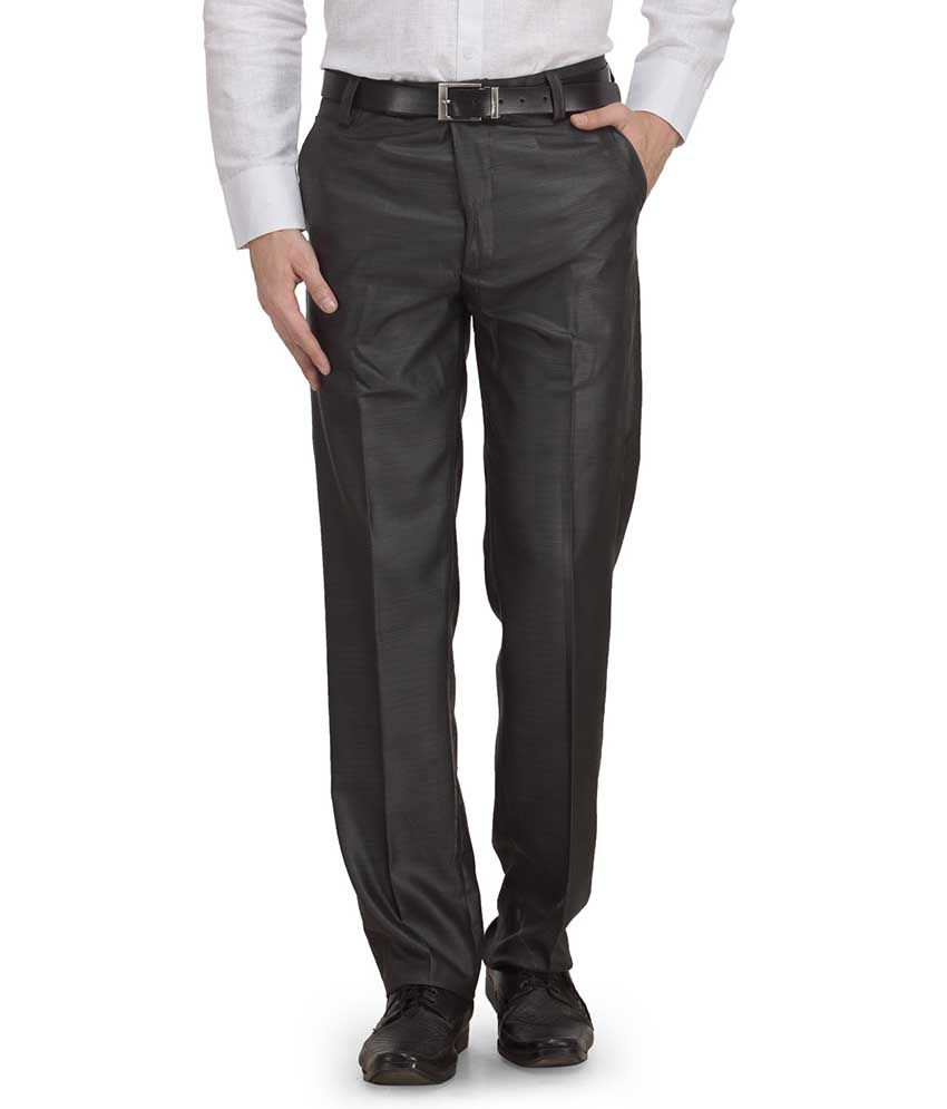 Ausy Black Slim Fit Formal Flat Trouser