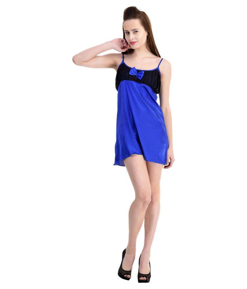 Claura Blue Satin Baby Doll Dresses