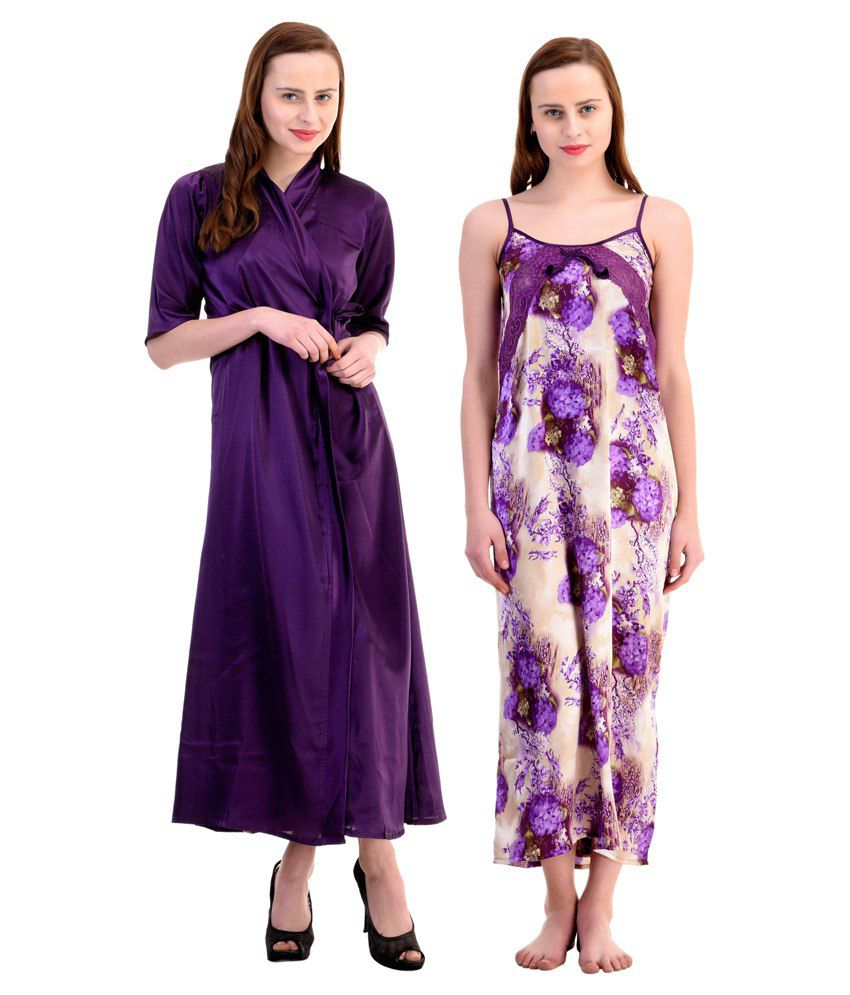 326acdb31b Buy Claura Soft Textile Satin Nighty with Robe Pack of 2 Online at Best  Prices in India - Snapdeal