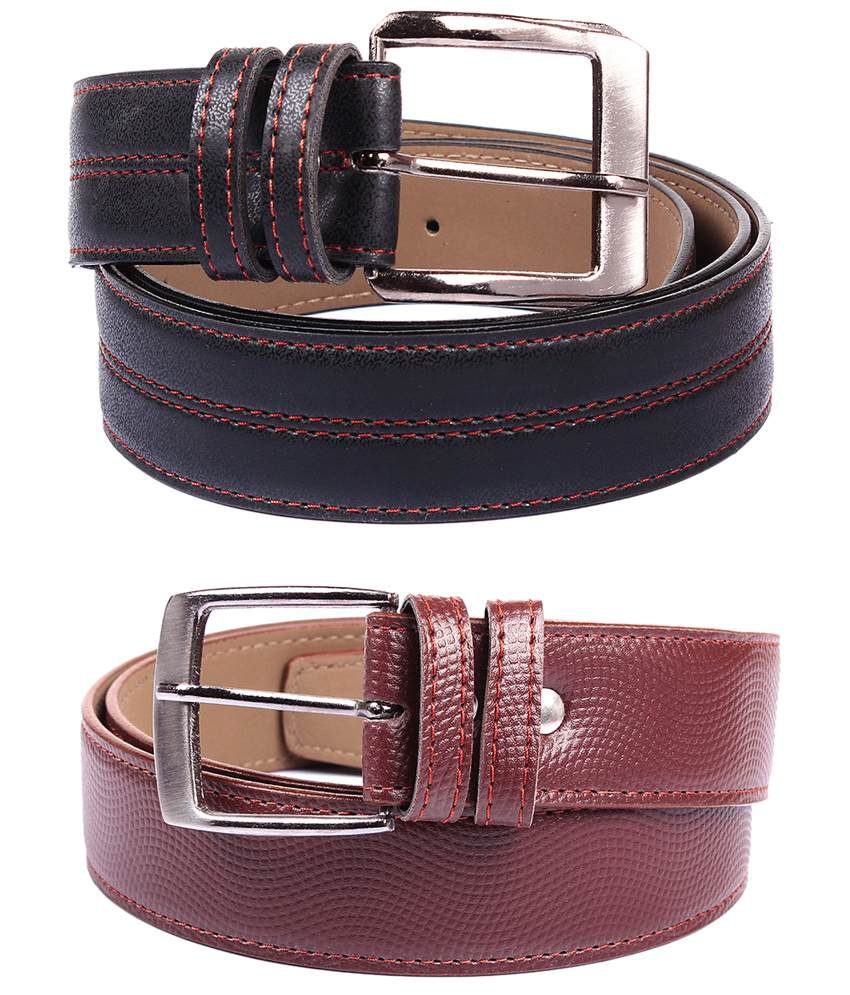 Fedrigo Pack Of 2 Black & Brown Pin Buckle Belts