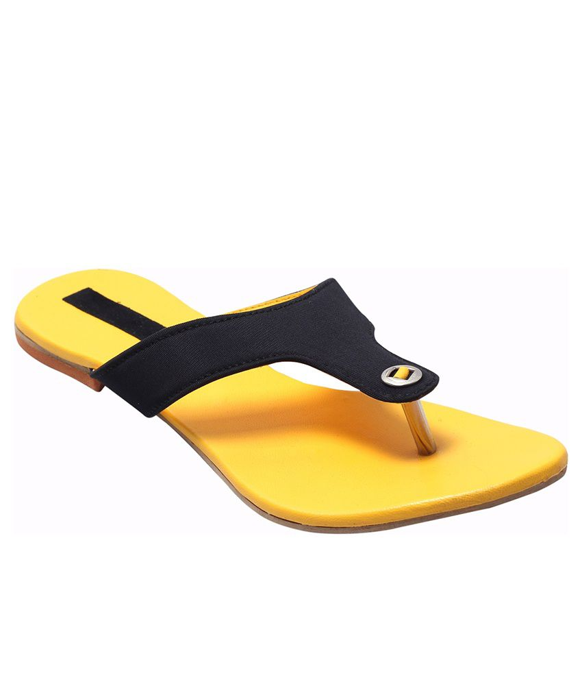 Fabme Yellow Flat Slippers
