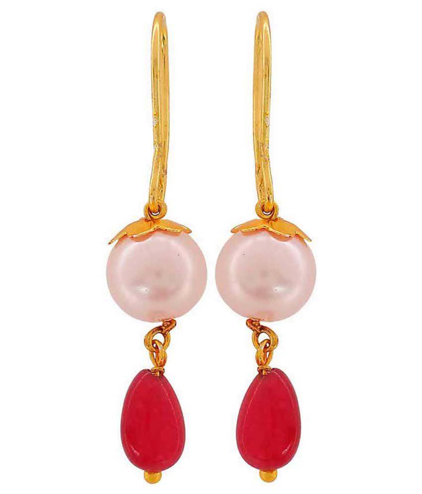 Maayra Red Brass Hanging Earrings