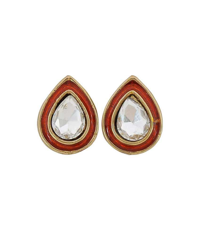 Maayra Red Brass Stud Earrings